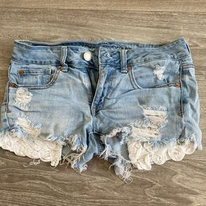 Cute Jean shorts with lace